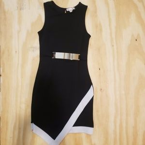 Black and white lined asymmetrical stretch dress